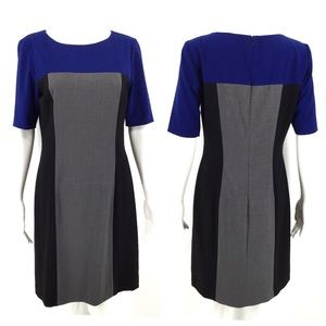 Tahari Dresses - TAHARI Dress 6 Color Block Gray Blue Black Career
